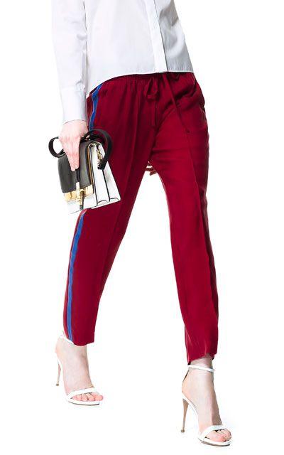 PANTALÓN FLUIDO BANDA LATERAL - Pantalones - Mujer | ZARA España 39, 95