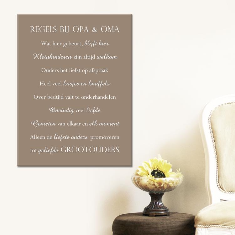 tekst op canvas - regels bij opa en oma   woonkamer teksten, Deco ideeën