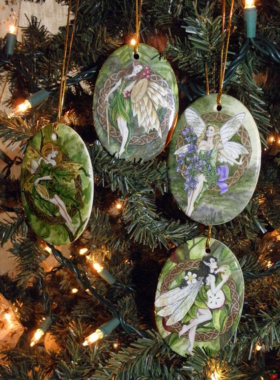 Set of Four Celtic Tree Fairy Holiday Ornaments Gift basket ideas