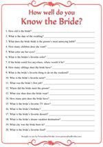 picture about Free Printable Bridal Shower Games How Well Do You Know the Bride called How Effectively Do Your self Comprehend the Bride Printable Bridal Shower Sport