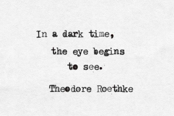 """In a dark time, the eye begins to see"" -Theodore Roethke"