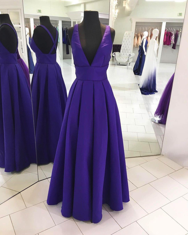 Purplr prom dress satin prom dress vneck long prom dress prom
