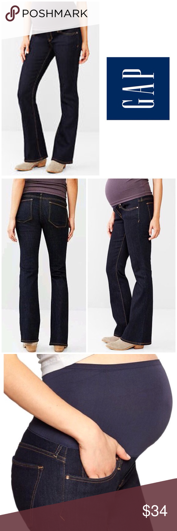 bb7f6d35b223f GAP Full Panel Sexy Bootcut Maternity Jeans Fit & Sizing Choose your  maternity size based on