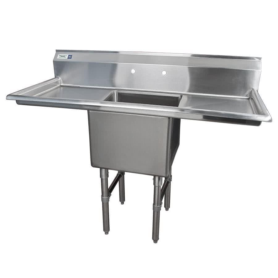 Regency 54 16 Gauge Stainless Steel One Compartment Commercial Sink With 2 Drainboards 18 X 18 X 14 Bowl Commercial Sink Sink Utility Room Sinks