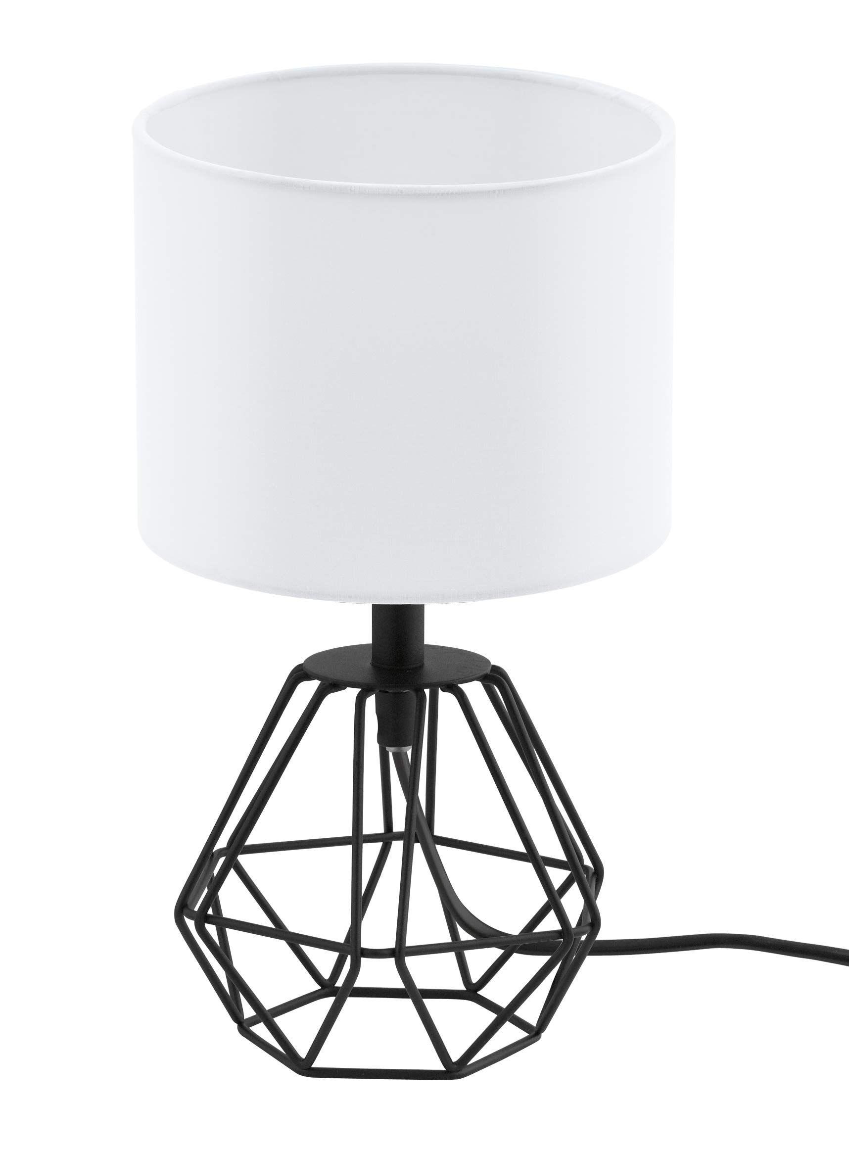 Eglo Tischlampe Carlton 2 1 Flammige Vintage Tischleuchte Hohe 30 5 Cm Nachttischlampe Aus Stahl Und Stoff Farbe Schwarz In 2020 Tischlampen Nachttischlampe Lampe
