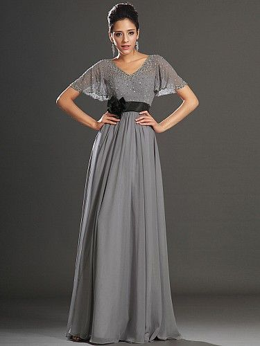 Grey V-Neck Chiffon Beaded Flutter Sleeves Prom Dress With Black ...