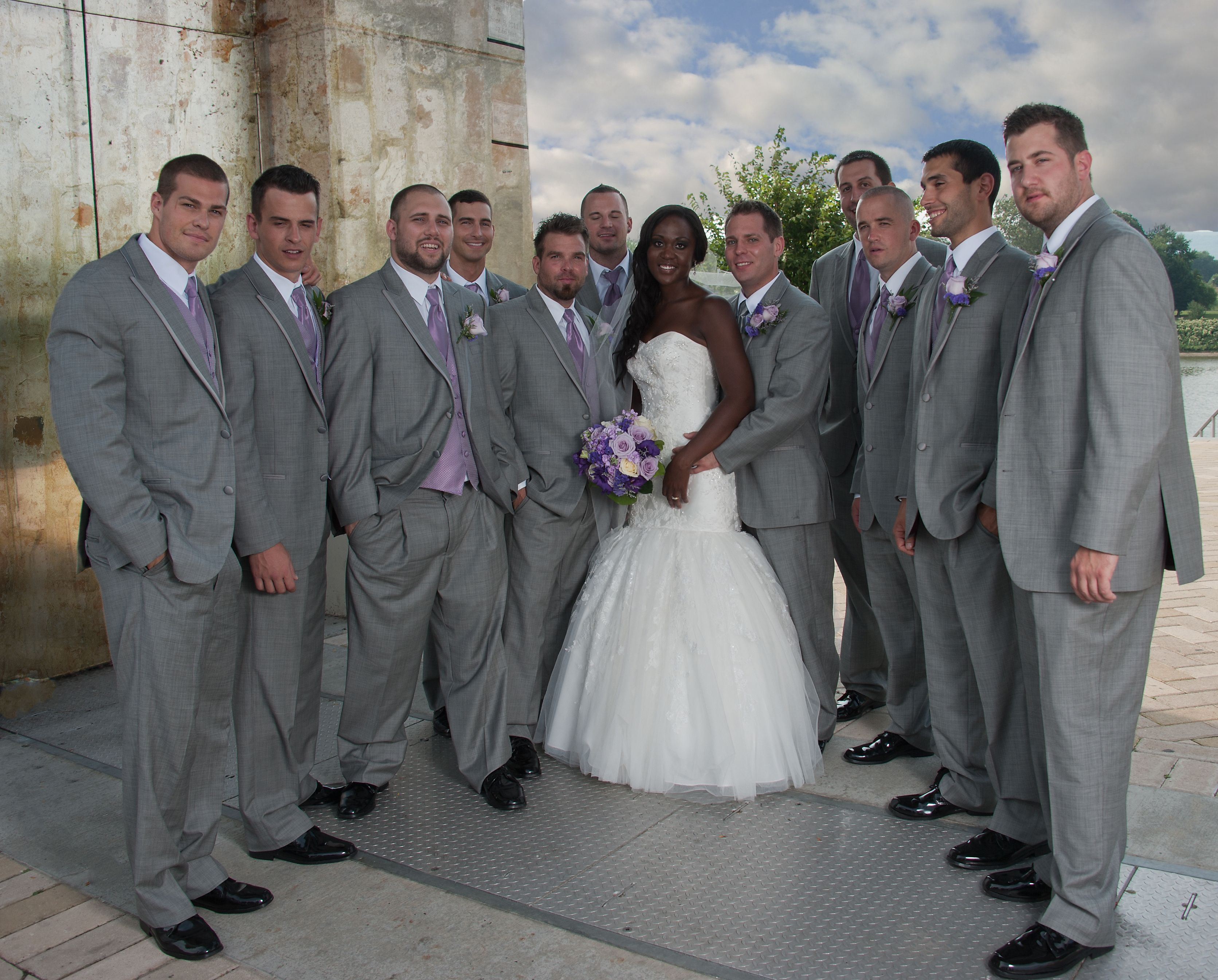 Groomsmen In Beautiful Gray Tuxedo S With Lavender Accents Grey Princesses