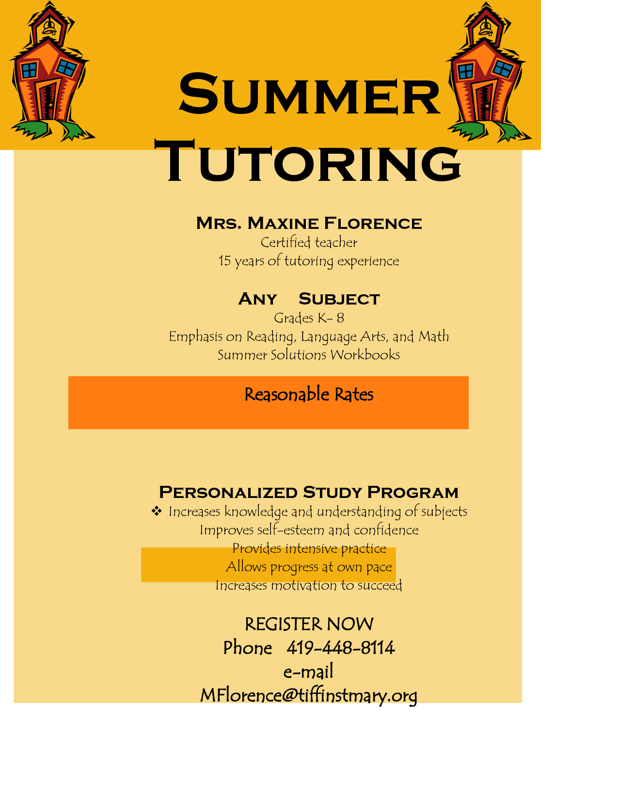 flyer for tutoring services offers community programs and services