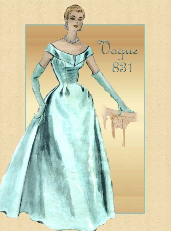 Reserved for Lori:---1950s Gown Pattern Vogue Couturier 831 Formal ...