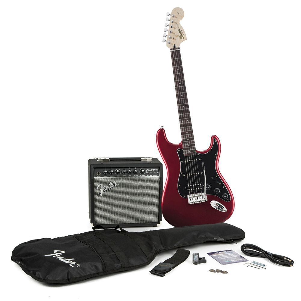 Squier Stop Dreaming Start Playing Affinity Stratocaster HSS with Champion 20 Pack - Candy Apple Red
