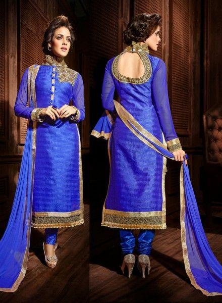 Royal Blue Designer Indian Punjabi Wedding Suit In Silk