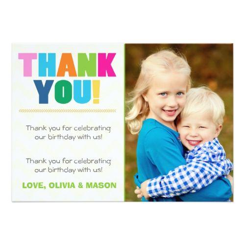 Joint Birthday Thank You Card Twins Rainbow Colors Zazzle Com Birthday Thank You Birthday Thank You Cards Thank You Cards