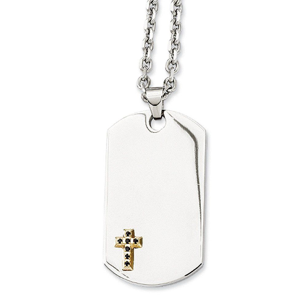 Stainless steel k gold plate sapphire accent cross dog tag