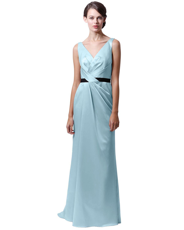 Long V-neck Bridesmaids Dress by Badgley Mischka $330 | Bridesmaids ...