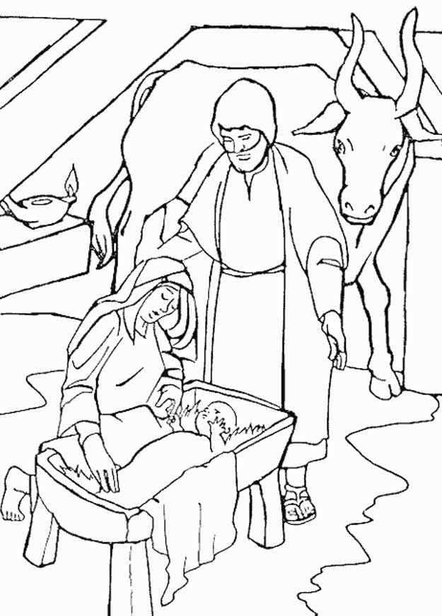 Coloring Page Bible Christmas Story Kids N Fun