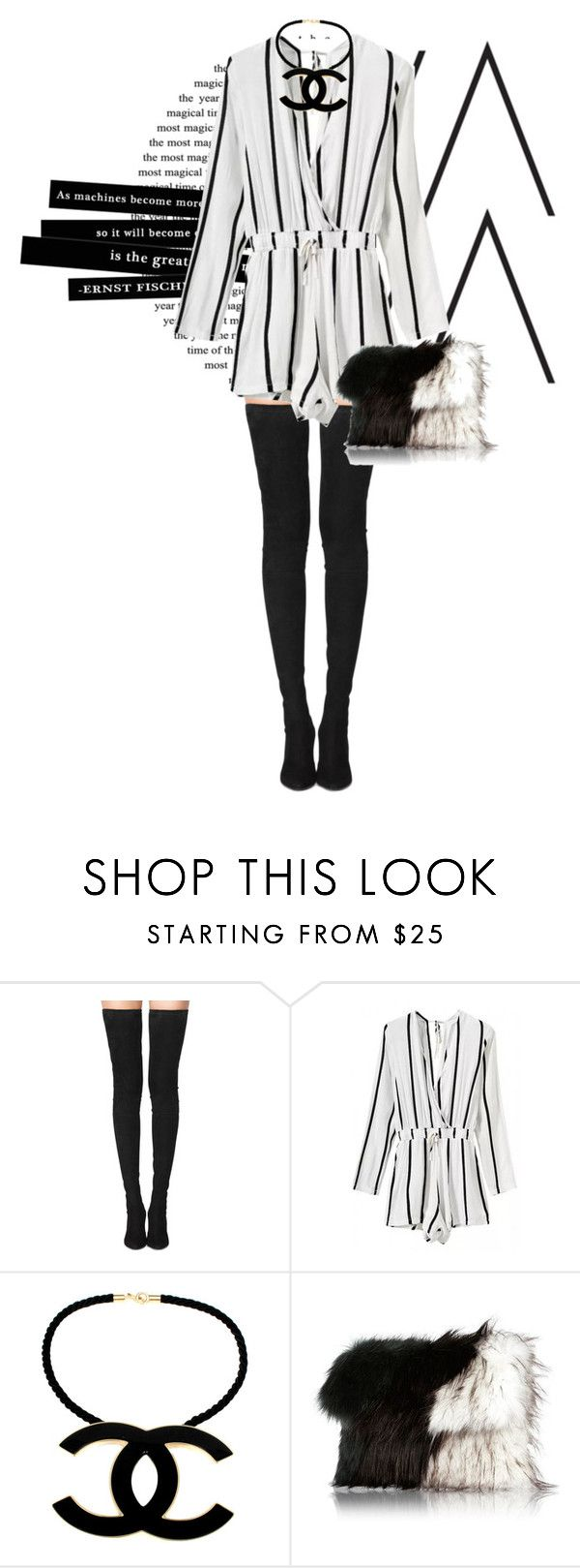 """VerticalStripedPrintSurpliceRomper"" by magsterific ❤ liked on Polyvore featuring Tamara Mellon, Chanel and River Island"