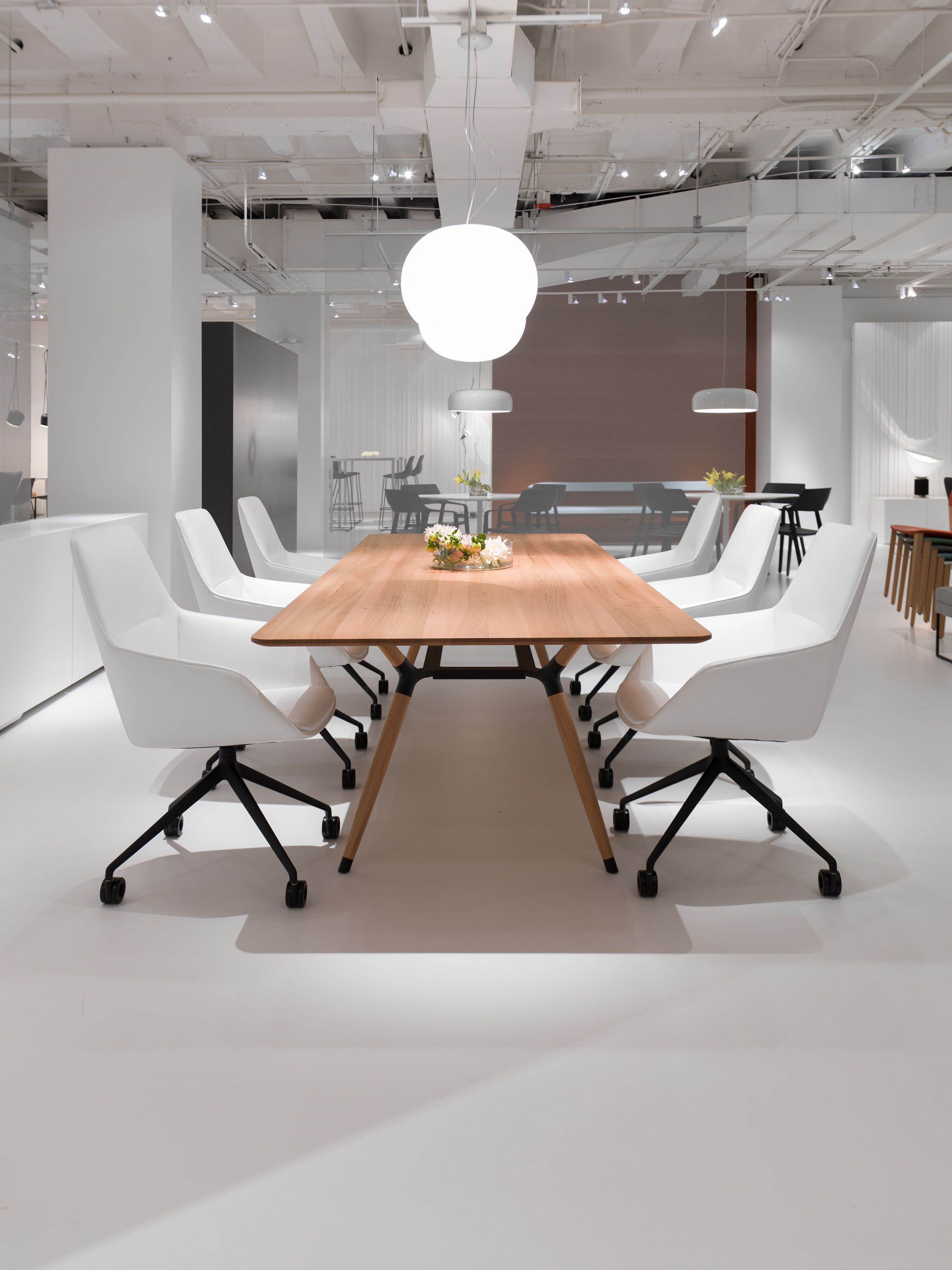 X2 Solid Wood Table shown with Sachet Chairs from Davis Furniture