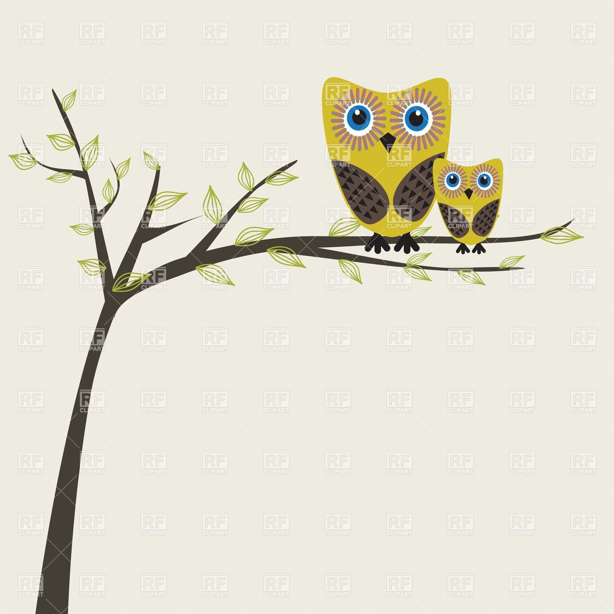 Zipper black and white clipart images amp pictures becuo - Two Cute Cartoon Owls On A Tree Branch Plants And Animals