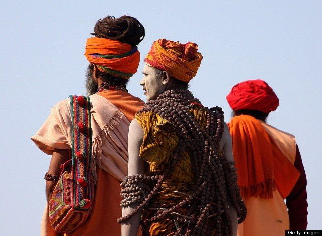 A group of Hindu holy men are seen in Allahabad, India.