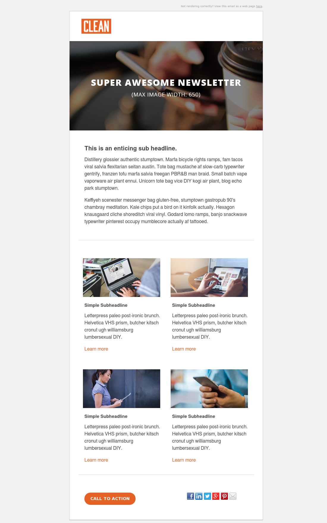 Clean 3 Newsletter Email Template Hubspot Email