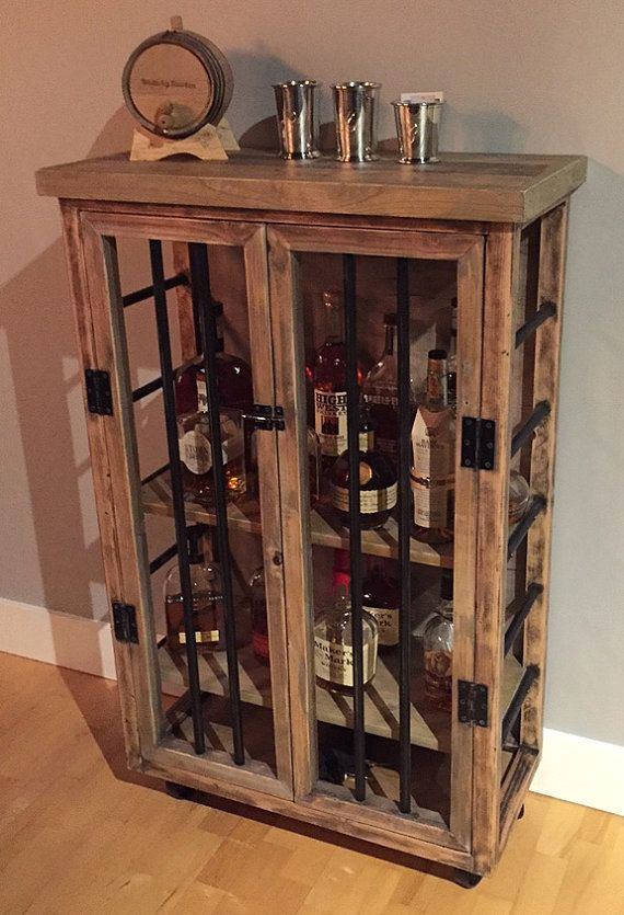 liquor cabinet rustic iron and wood with natural distressed finish rh pinterest com