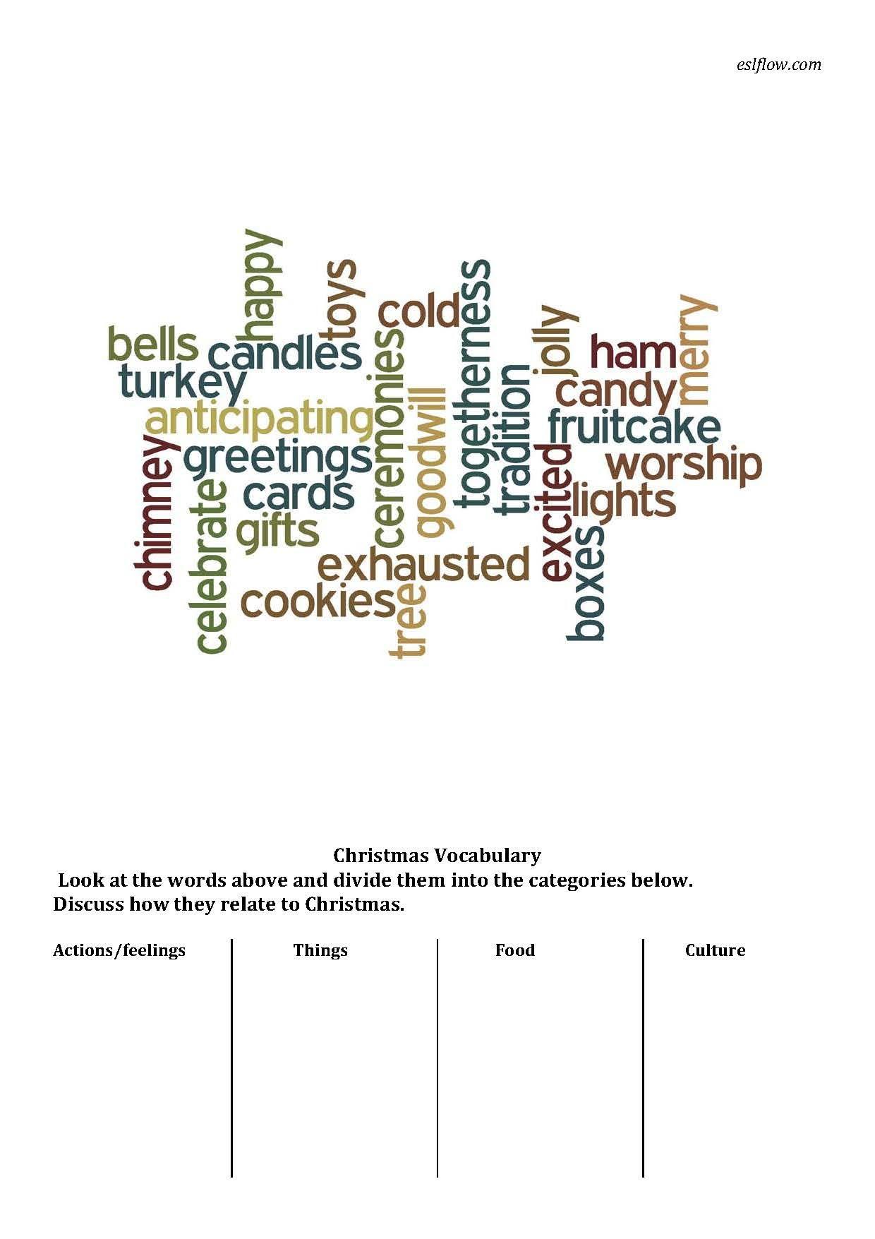 Christmas Vocabulary Sorting Worksheet
