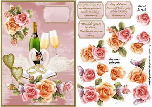 A beautiful card front for the celebration of Golden wedding anniversary  Can be used as is by just adding a greeting or  build up the extra layers for a special 3d card