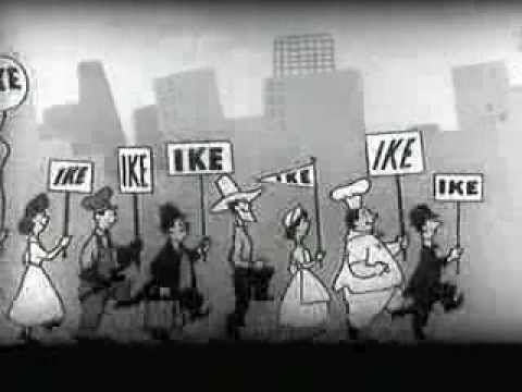 """The """"I Like Ike"""" animated television commercial, produced by Roy Disney and Citizens for Eisenhower-Nixon. This commercial was made for Eisenhower presidential campaign in 1952."""