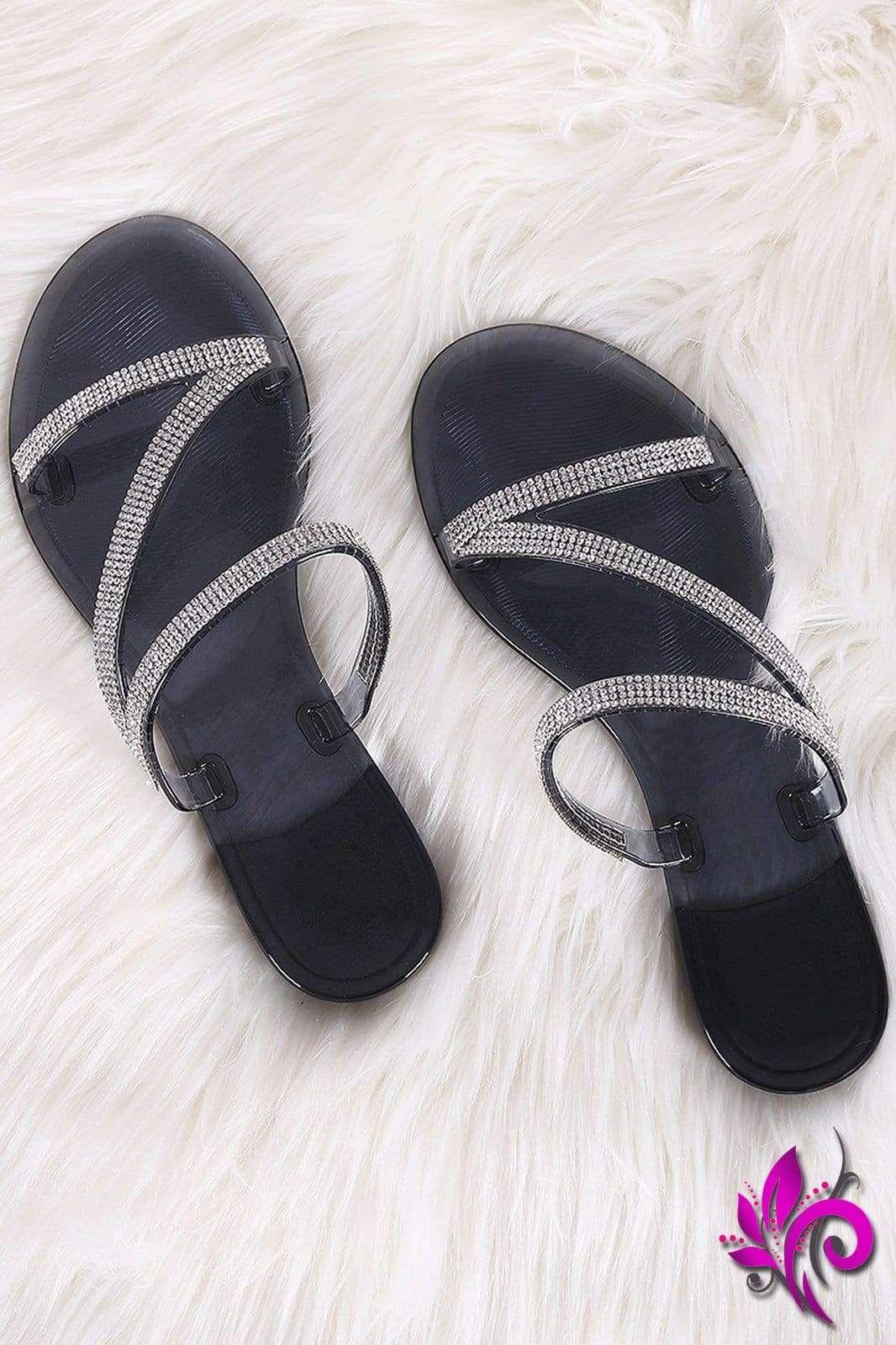 Liliana Strappy Rhinestone Accent Jelly Flat Sandal | Womens