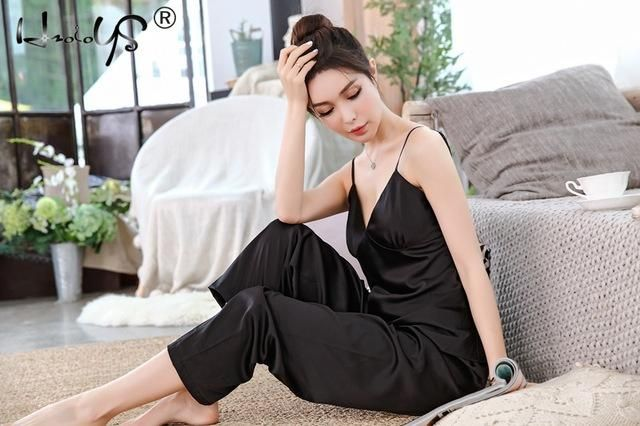 Buy V-Neck Lace Satin Silk Lingerie Homewear Pyjamas Set at narvay.com. ae3ad9981