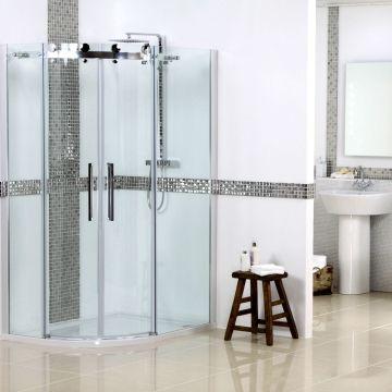 Diamond Frameless 1200 X 900mm Offset Quadrant Enclosure Pack With Tray Waste Left Hand Shower Enclosure Shower Enclosure