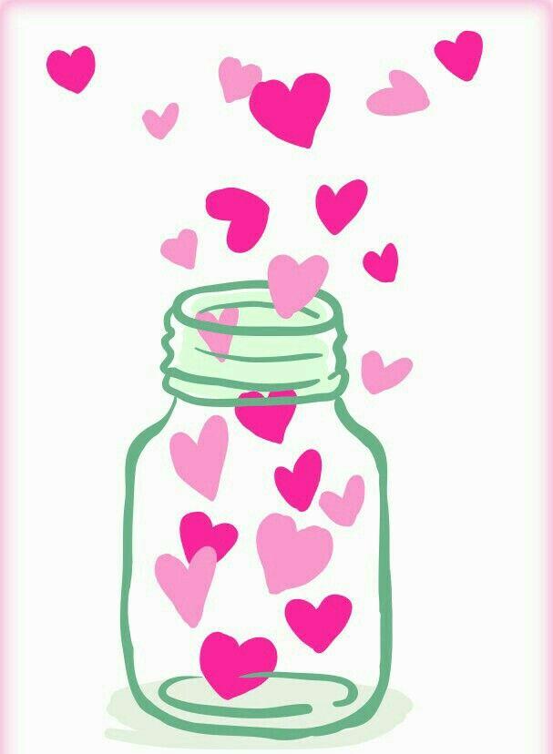 Банка с сердечками открытка для мамы