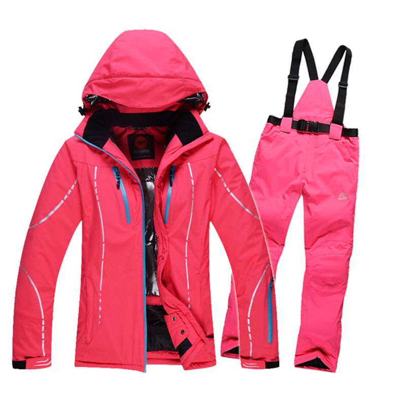 Women Skiing Sets Jackets Pants Snowboard Clothes Thick Warm Waterproof  Windproof Winter Dress Skiing Jacket Outdoor cf7c352de