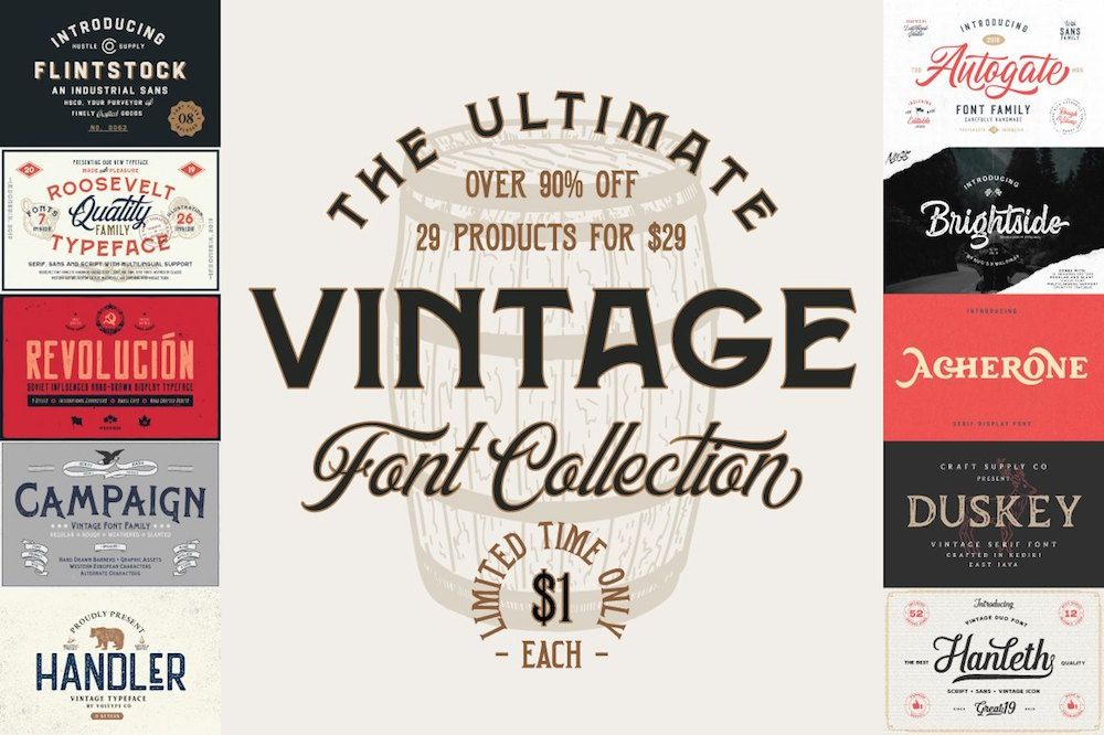 The Ultimate Vintage Font Collection Fonts Vintagetypography Vintage Fonts Vintage Typography Design Quotes