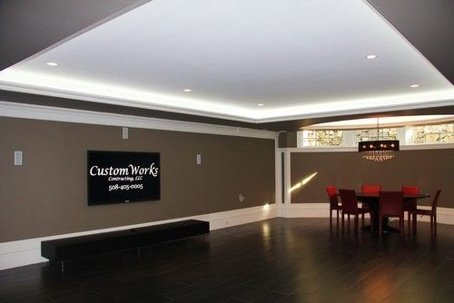 Basement With Dark Wood Floors Customworks Contracting Llc