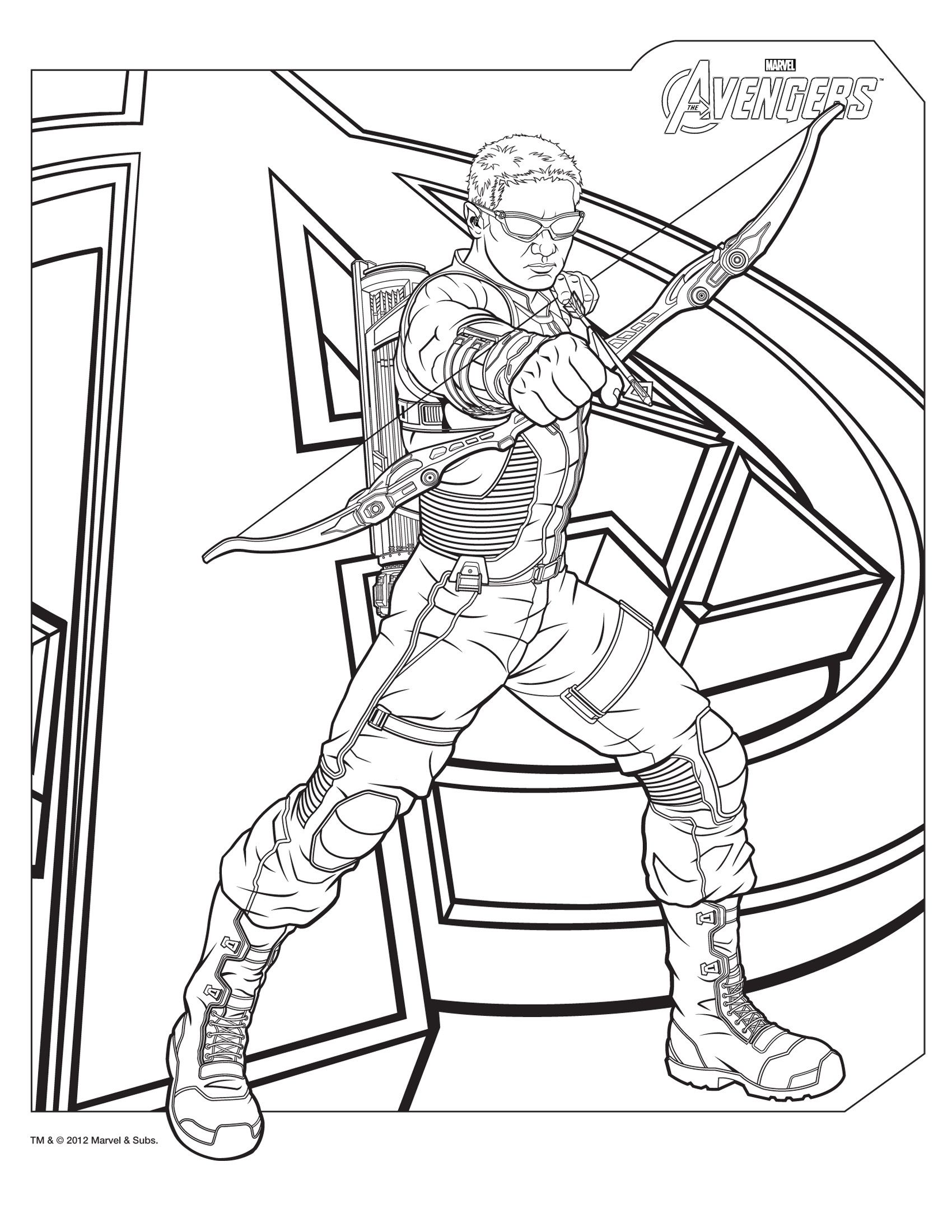 Hawkeye Avengers Coloring Pages