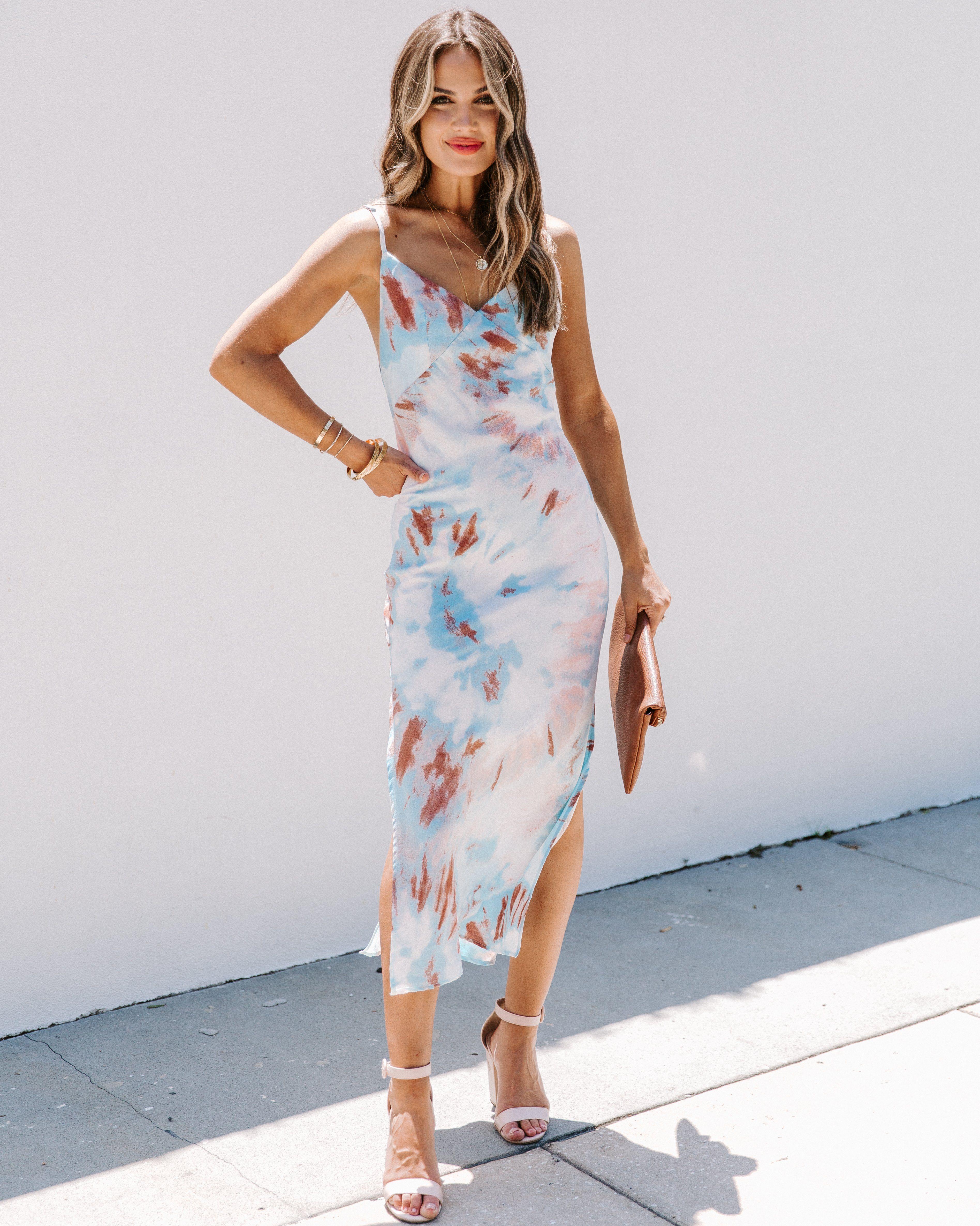 Fan Favorite Tie Dye Slip Midi Dress Beach Wedding Guest Dress Outdoor Wedding Guest Dresses Best Wedding Guest Dresses [ 4739 x 3791 Pixel ]