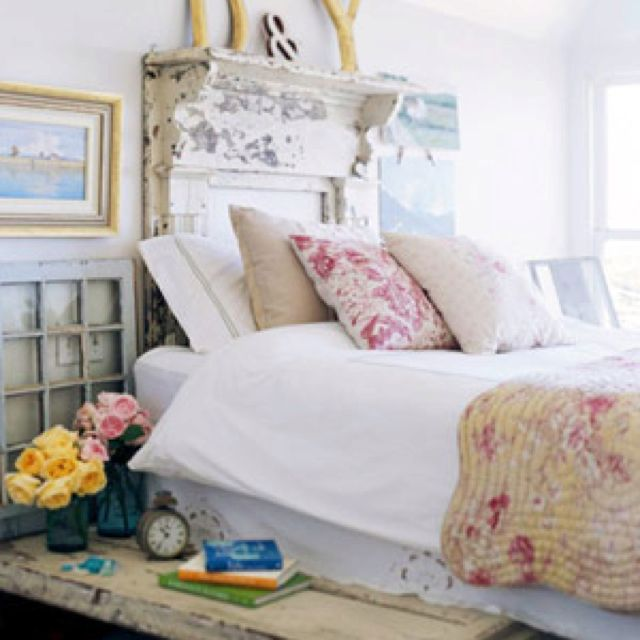 French country romantic--love the rosy pinks, white,  & creamy yellows; the bench
