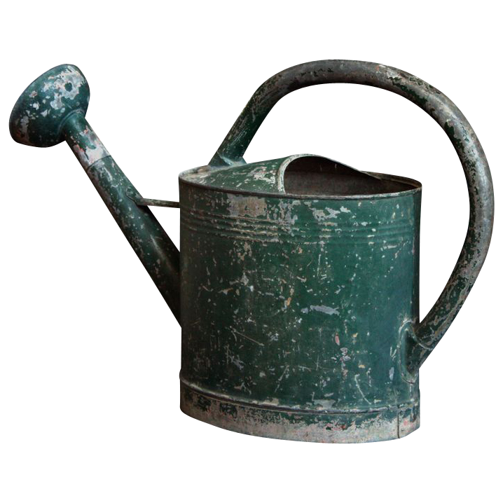 Early 20th Century Large Painted French Watering Can With A Detachable Copper Rose Watering Can French Antiques Old Garden Tools