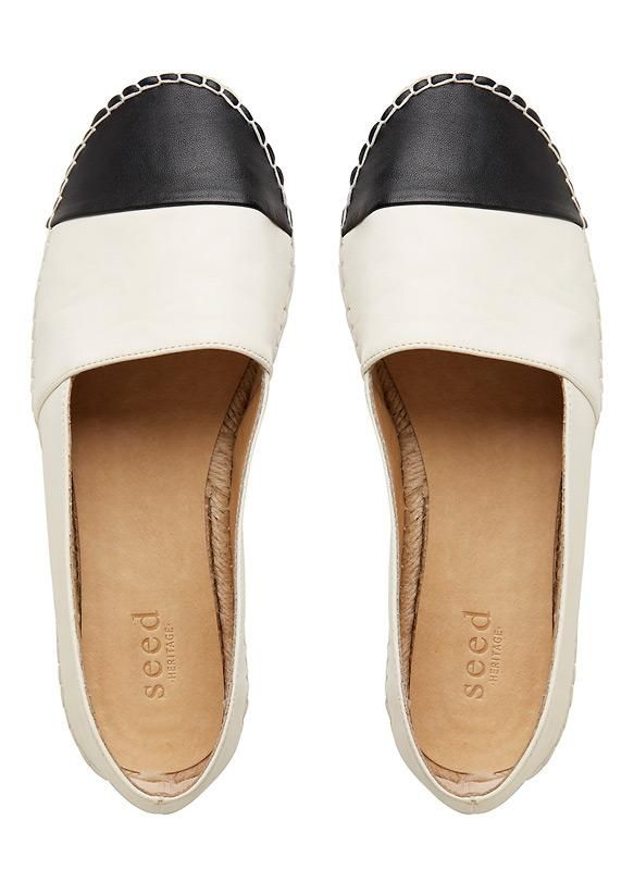 801a80430ce Ava Leather Espadrille in Black/White from Seed Heritage | FASHION ...
