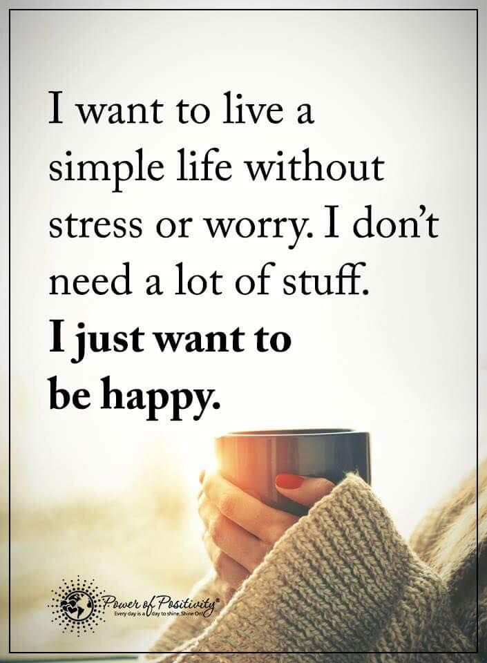 I Want To Live A Simple Life Without Stress Or Worry I Don T A Lot Of Stuff I Just Want To Be Happy Attitude Quotes Peace Quotes True Quotes