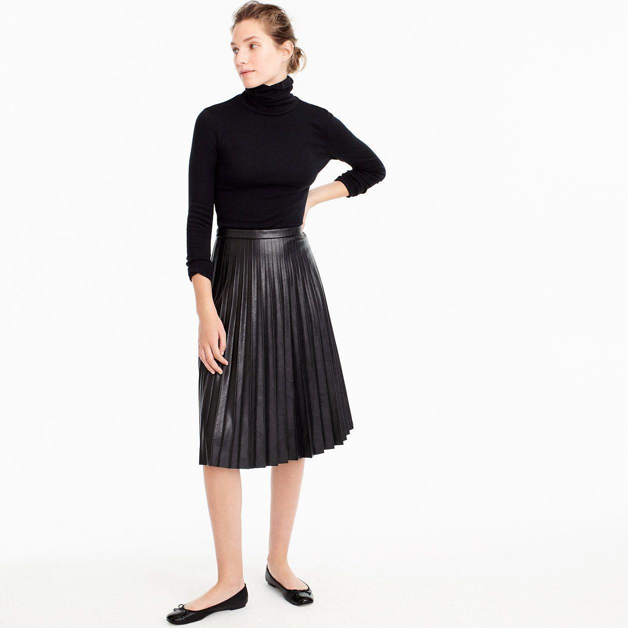dac694bf2e J.Crew Womens Petite Faux-Leather Pleated Midi Skirt | Women's ...