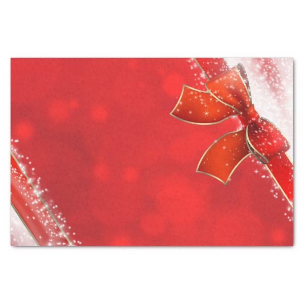 Red Holiday Christmas Bow Sparkle Lights Custom Tissue Paper