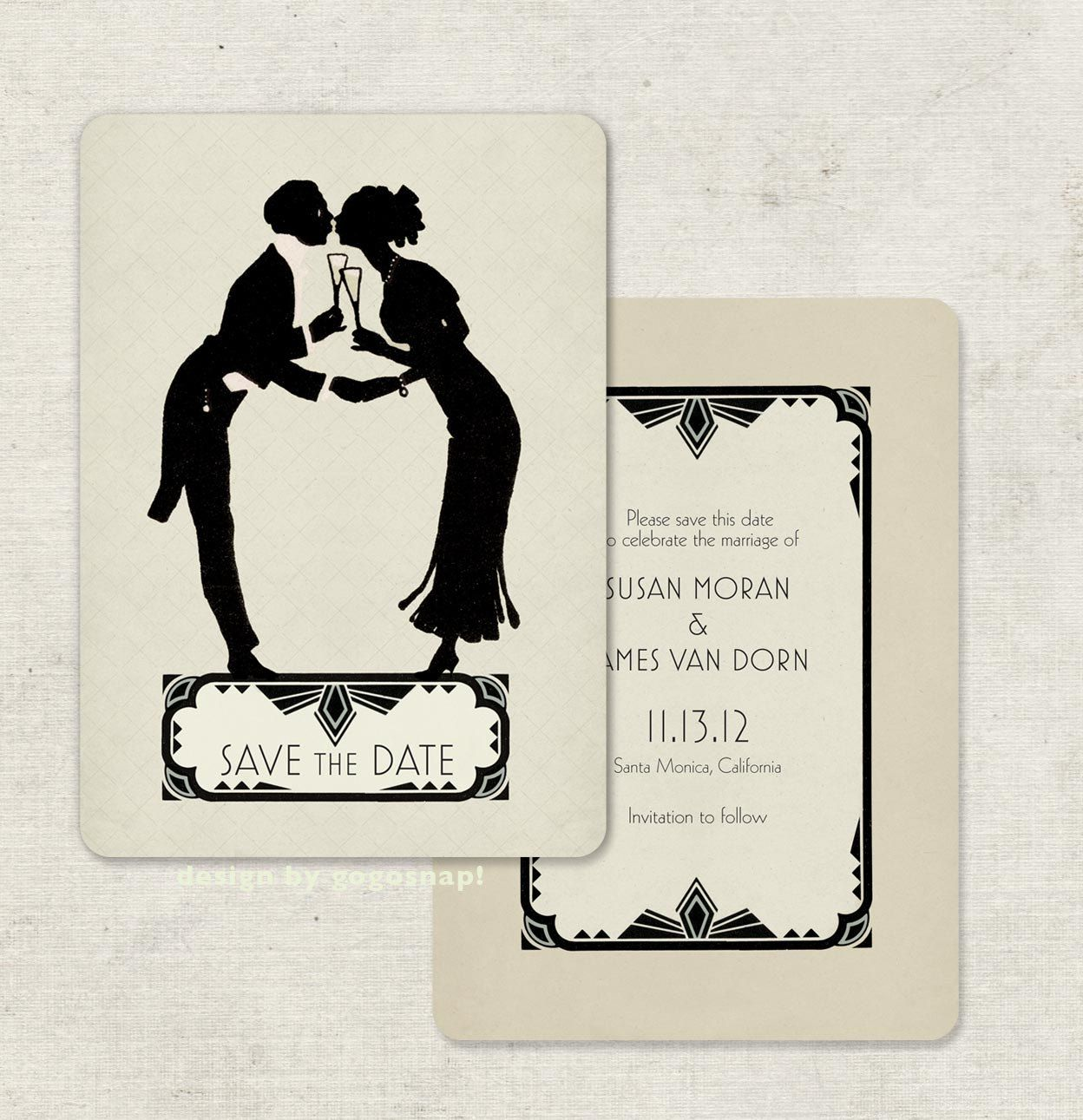 Art Deco Vintage Save The Date Cards Or Deco Wedding