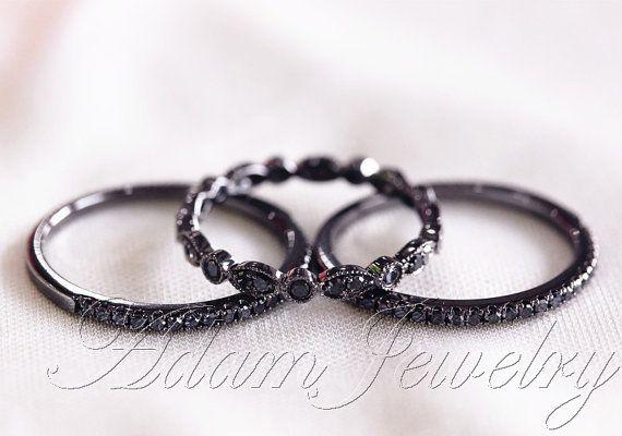 Black Diamond Ring Set! 14k White Gold Full Milgrain Black Diamond Ring & Half Eternity  Wedding Band /   Engagement Ring/ Anniversary Ring on Etsy, $630.00 LOVE LOVE LOVE LOVE IT!!!!!