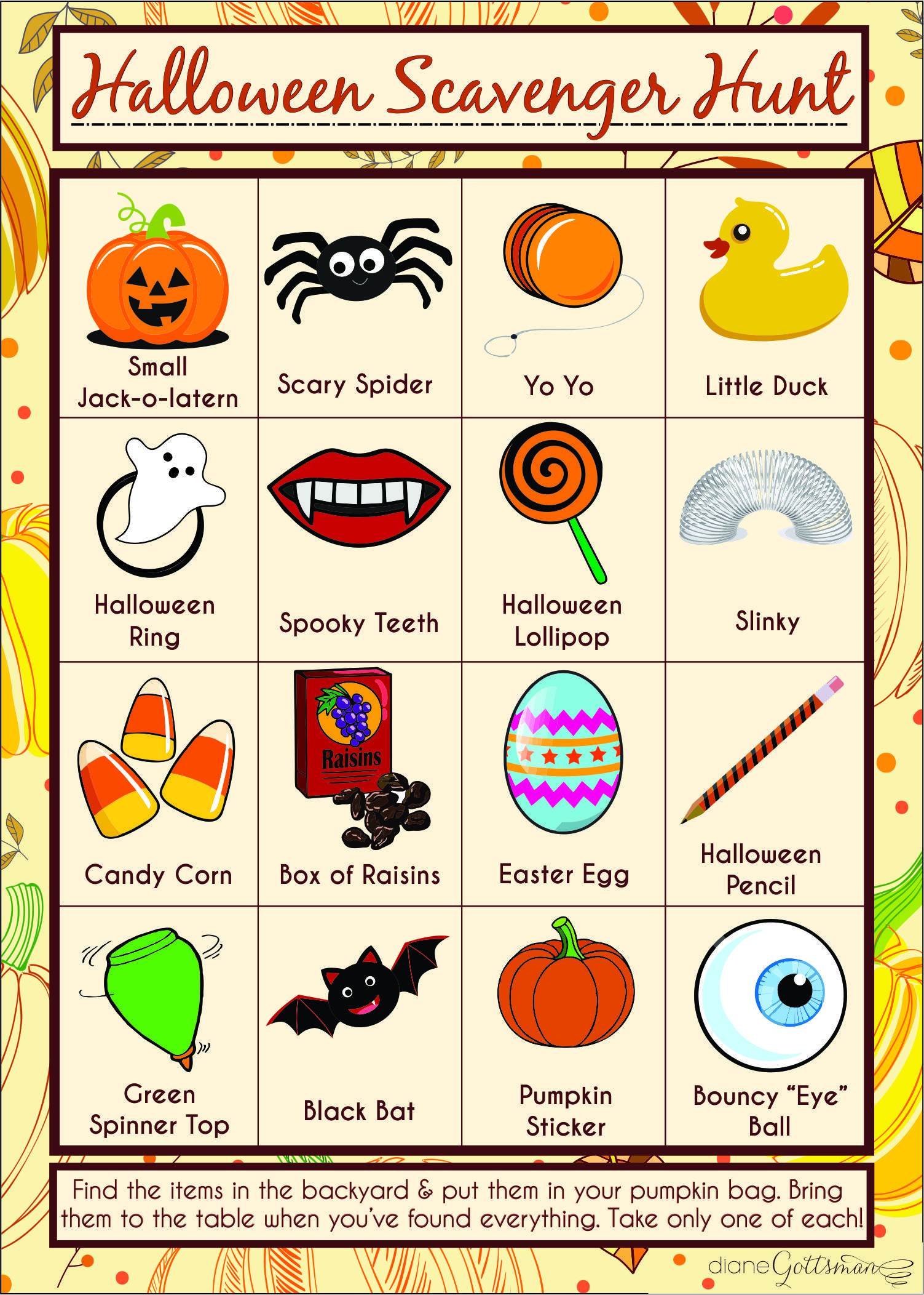 Kids Halloween Party Scavenger Hunt Template