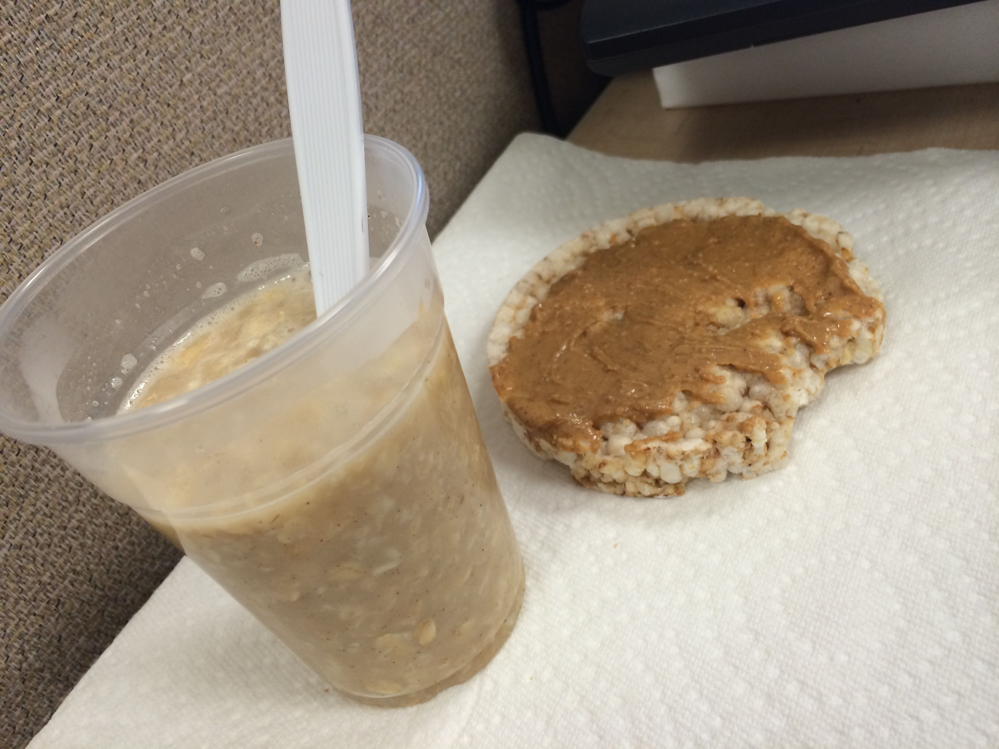 Oatmeal and rice cake with peanut butter healthy calories