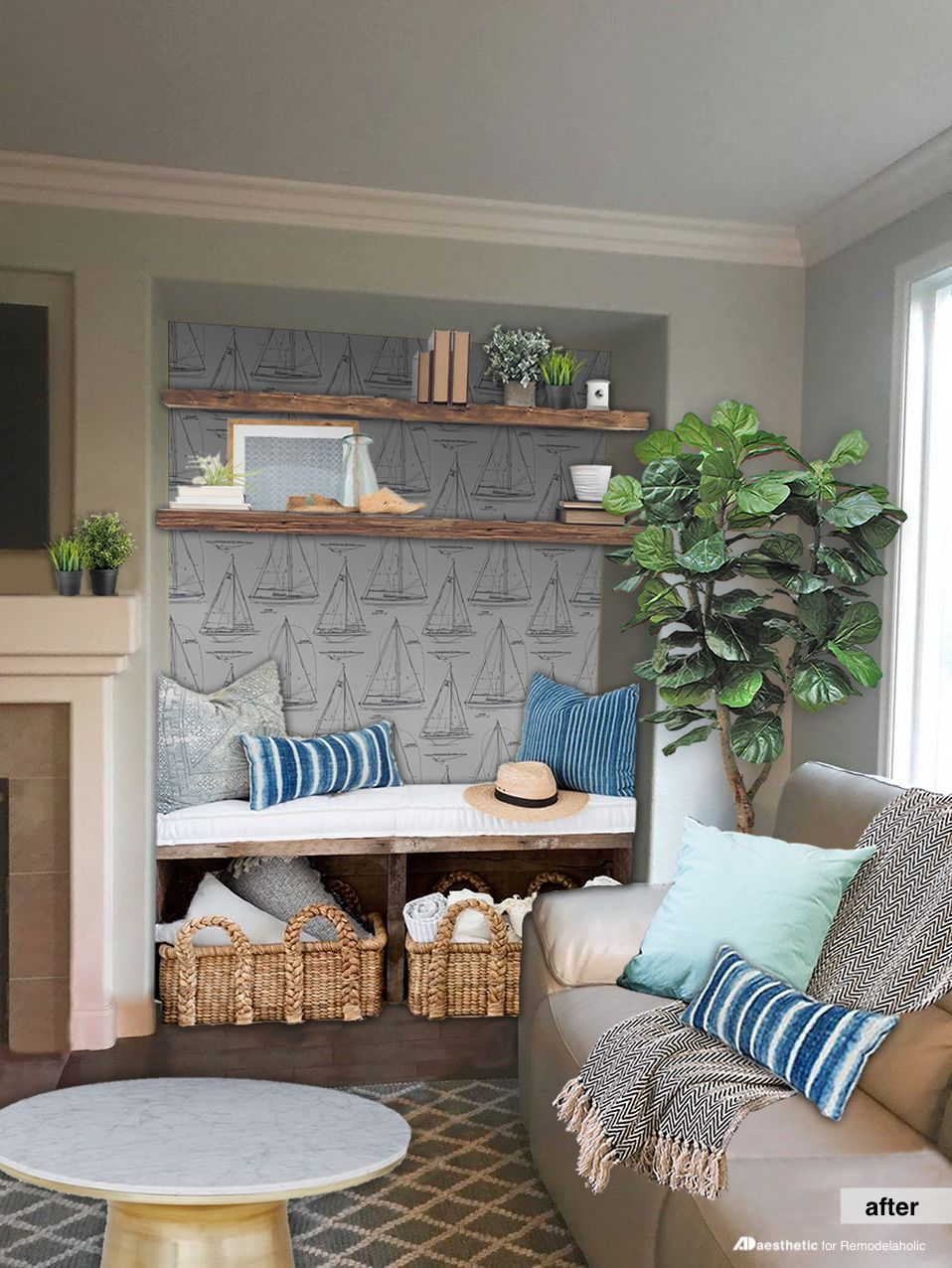 Many homes have those potentially awkward alcoves that are tricky