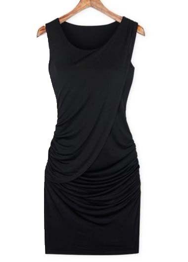 New Arriving Round Neck Sleeveless Cotton Dress Black