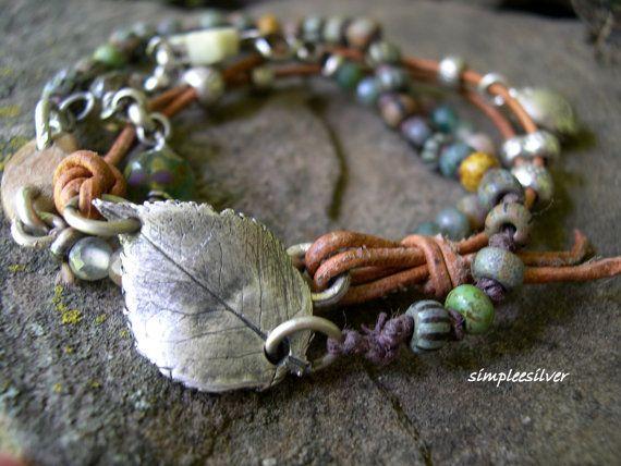 Handmade Bohemian Wrap Bracelet  -  Fine Silver Ladybug Charm Bracelet  -  Picasso Czech Beads Bracelet  -  Leather Wrap Bracelet